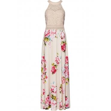 Sommerkleid mit Blumen-Print und Spitze ohne Ärmel  in beige von bonprix