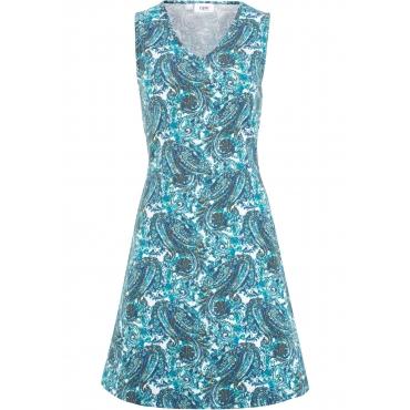 Sommerkleid mit V-Ausschnitt ohne Ärmel  in blau für Damen von bonprix