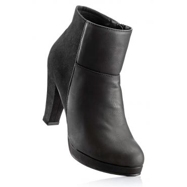 Stiefelette mit 9 cm Blockabsatz in schwarz von bonprix