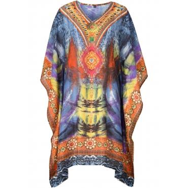 Strand Tunika-Kleid halber Arm  in lila für Damen von bonprix