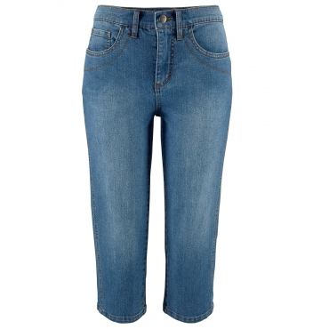 Stretch-Capri-Jeans in blau für Damen von bonprix