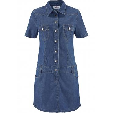 Stretch-Jeans-Kleid kurzer Arm  in blau von bonprix