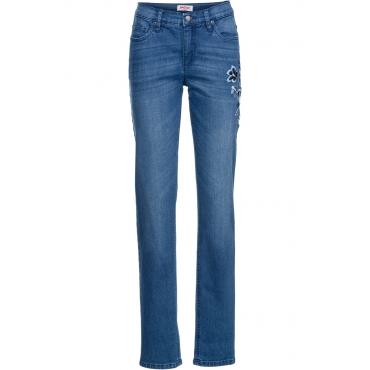 Stretch-Jeans mit Stickerei CLASSIC in blau für Damen von bonprix