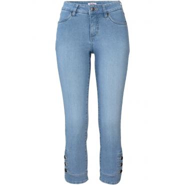 Stretch-Jeans SLIM mit Knöpfen in blau für Damen von bonprix