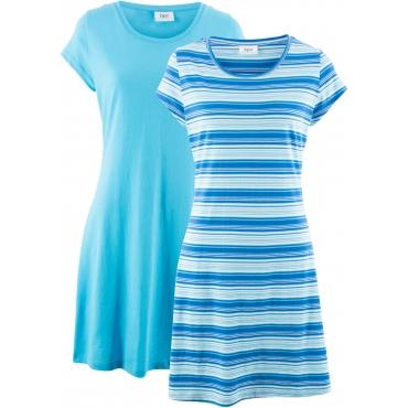 Stretch-Shirtkleid (Doppelpack), gestreift & uni kurzer Arm  in blau von bonprix