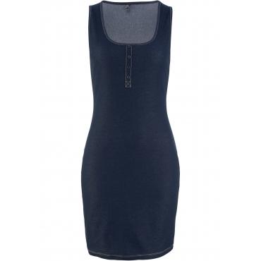 Stretch-Shirtkleid in Jeansoptik ohne Ärmel  in blau von bonprix