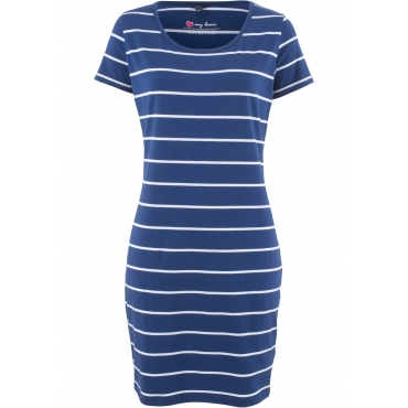 Stretch-Shirtkleid, Kurzarm in blau  von bonprix