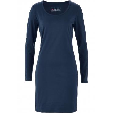 Stretch-Shirtkleid, Langarm in blau für Damen von bonprix