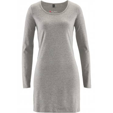Stretch-Shirtkleid, Langarm in grau für Damen von bonprix
