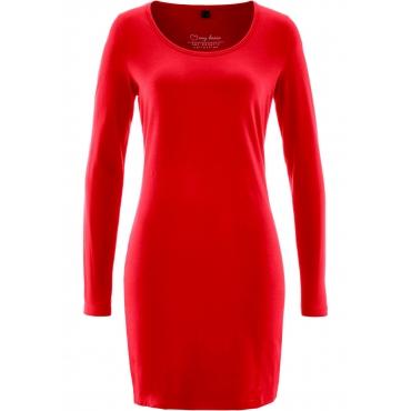 Stretch-Shirtkleid, Langarm in rot für Damen von bonprix
