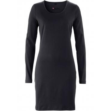 Stretch-Shirtkleid, Langarm in schwarz für Damen von bonprix
