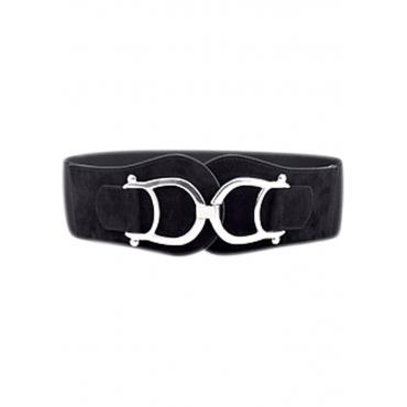Stretchgürtel mit großer Schnalle in schwarz für Damen von bonprix