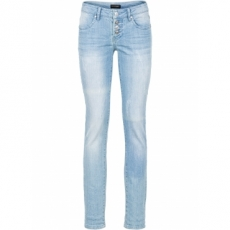 Stretchjeans, used look in blau für Damen von bonprix