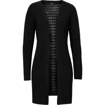 Strickcardigan mit Ajourmuster langarm  in schwarz für Damen von bonprix