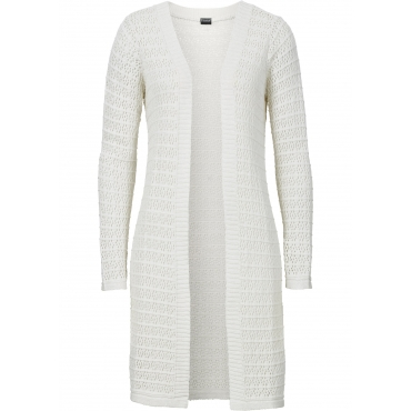 Strickcardigan mit Ajourmuster langarm  in weiß für Damen von bonprix