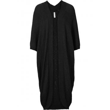 Strickjacke in Handstrickoptik langarm in schwarz für Damen