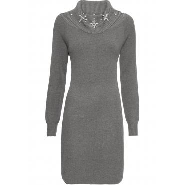 Strickkleid mit Applikation langarm  in grau für Damen von bonprix