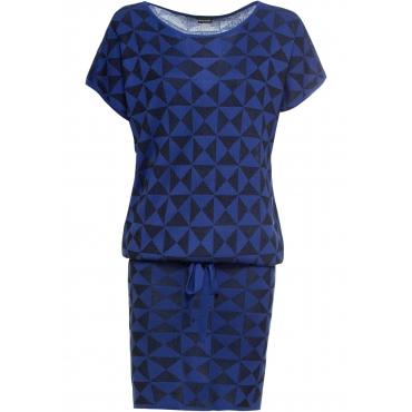 Strickkleid mit Bindeband halber Arm  in blau für Damen von bonprix