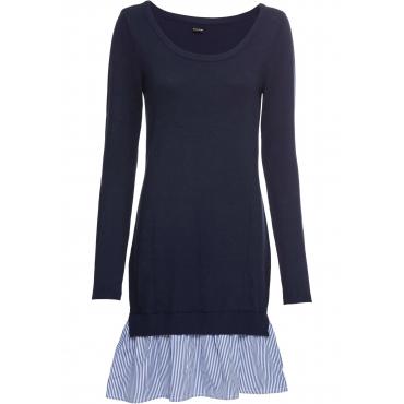 Strickkleid mit Bluseneinsatz langarm  in blau für Damen von bonprix