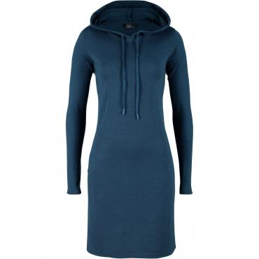 Strickkleid mit Kapuze langarm  in blau für Damen von bonprix