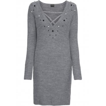 Strickkleid mit Perlen langarm  in grau für Damen von bonprix