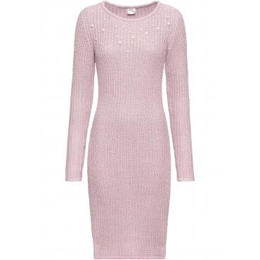 Strickkleid mit Perlen langarm  in rosa von bonprix