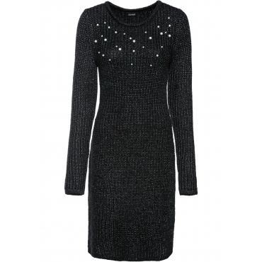 Strickkleid mit Perlen langarm  in schwarz für Damen von bonprix