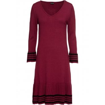 Strickkleid mit plissiertem Rock 3/4 Arm  in rot für Damen von bonprix