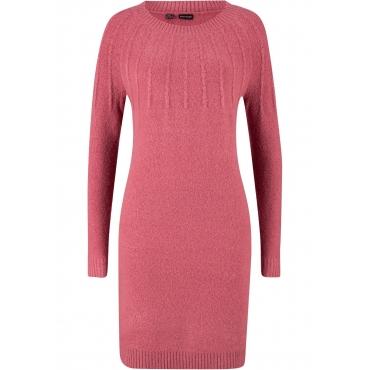 Strickkleid mit Rippdetail langarm  in pink für Damen von bonprix
