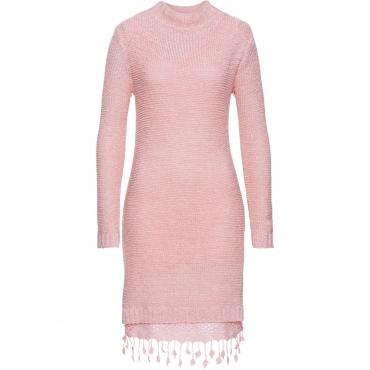 Strickkleid mit Spitze langarm  in rosa  von bonprix