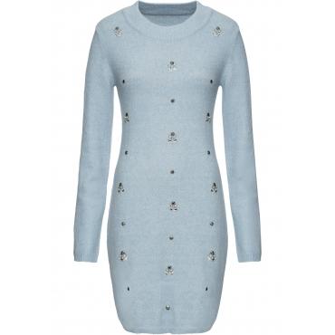 Strickkleid mit Steinchenapplikation langarm  in blau für Damen von bonprix