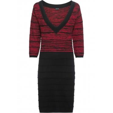 Strickkleid mit Streifen 3/4 Arm  in rot für Damen von bonprix