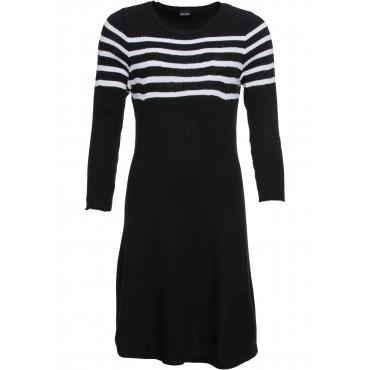 Strickkleid mit Streifendesign 3/4 Arm  in schwarz für Damen von bonprix
