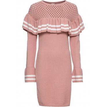 Strickkleid mit Volantärmeln langarm  in rosa für Damen von bonprix
