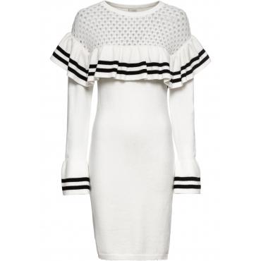 Strickkleid mit Volantärmeln langarm  in weiß für Damen von bonprix