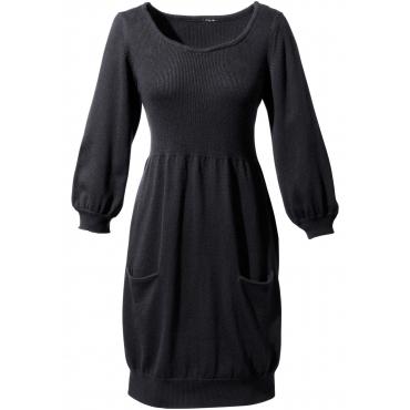Strickleid halber Arm  in schwarz (Rundhals) für Damen von bonprix