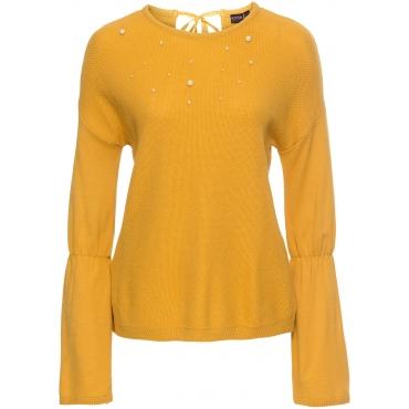 Strickpullover mit Perlen langarm  in gelb für Damen von bonprix