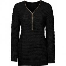 Strickpullover mit Reißverschluss langarm  in schwarz für Damen von bonprix