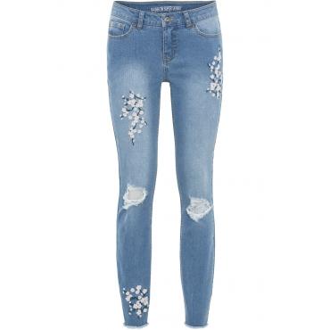 Super Skinny mit Blumenstickerei in blau für Damen von bonprix