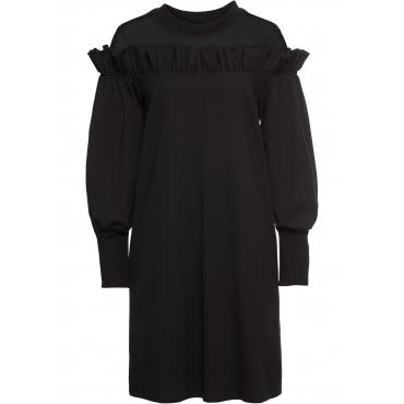 Sweat-Kleid mit Netzeinsatz langarm  in schwarz von bonprix
