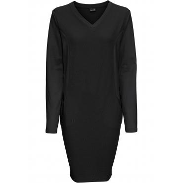 Sweatkleid langarm  in schwarz (Rundhals) für Damen von bonprix