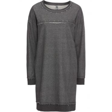 Sweatkleid mit Nieten langarm  in grau von bonprix