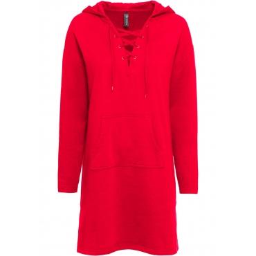 Sweatkleid mit Schnürung langarm  in rot für Damen von bonprix