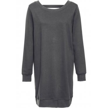 Sweatkleid mit tiefem Rückenausschnitt langarm  in schwarz für Damen von bonprix