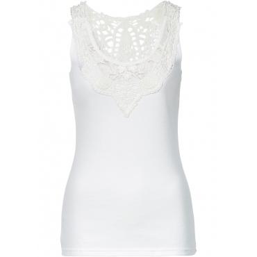 Top mit Spitze in weiß für Damen von bonprix