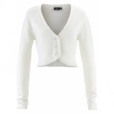 Trachten-Strickjacke langarm  in weiß für Damen von bonprix