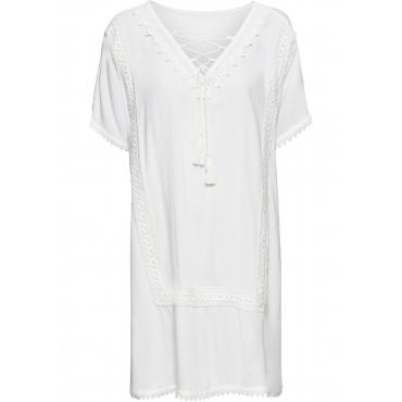 Tunika-Kleid mit Häkeldetails und Bindeband ohne Ärmel  in weiß für Damen von bonprix