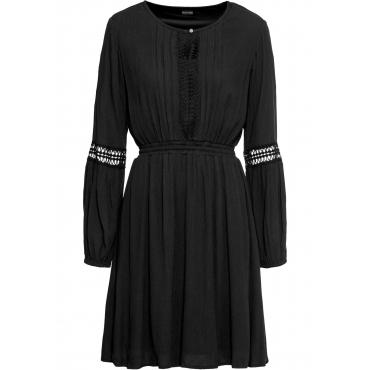 Tunika-Kleid mit Spitzendetails langarm  in schwarz für Damen von bonprix