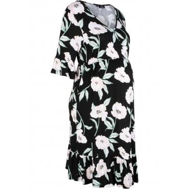 Umstands-Shirtkleid mit Blumendruck halber Arm  in schwarz von bonprix