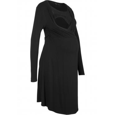 Umstands-Wickelkleid mit Spitze langarm  in schwarz von bonprix